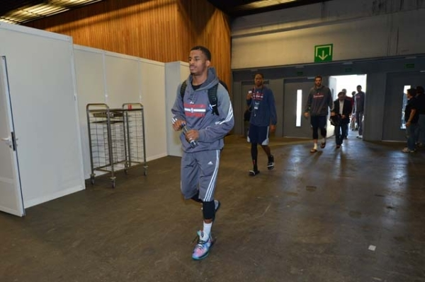 Blue traveling with the Sixers to Spain this past week